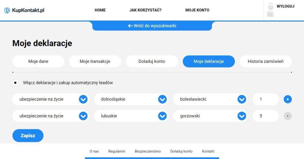 deklaracja zakupu automatycznego LEADA na kupkontakt.pl