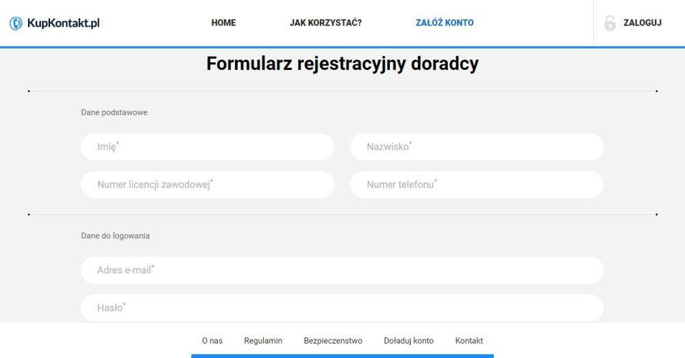 rejestracja na kupkontakt.pl